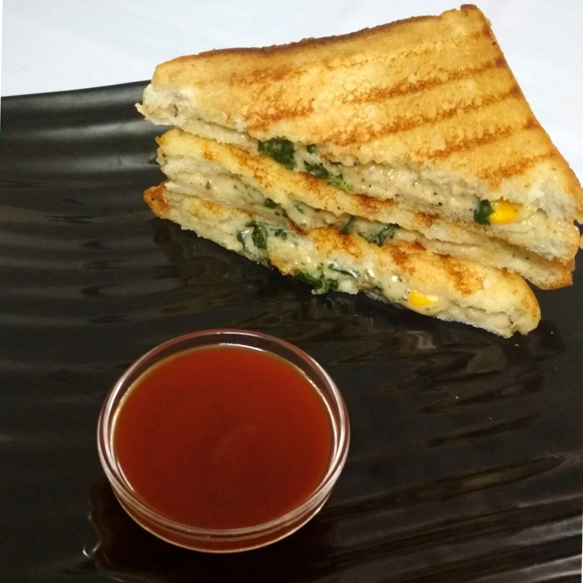 Cheesy Corn and Spinach Sandwich | Grilled Corn and Spinach Sandwich |  Recipe No. 72